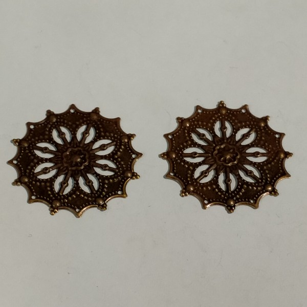 Breloque, 2 estampes rondes 3.5cm métal bronze - Photo n°1