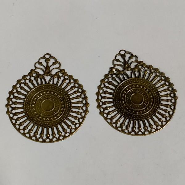 Breloque, 2 estampes rondes 4cm métal bronze - Photo n°1