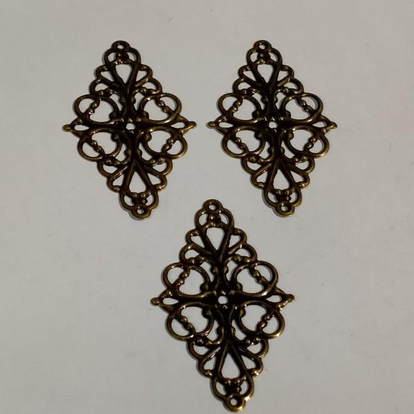 Breloque, 3 estampes losange 5cm métal bronze - Photo n°1