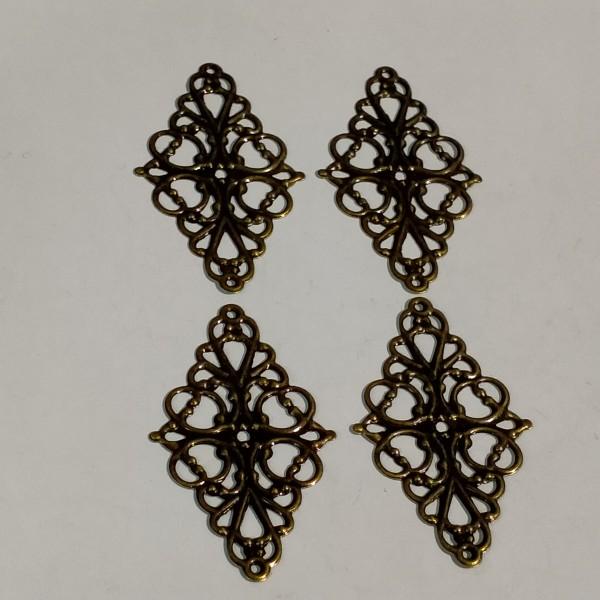Breloque, 4 estampes losange 5cm métal bronze - Photo n°1