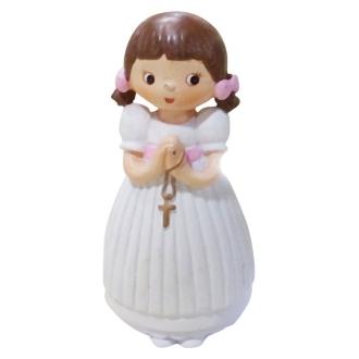Jeune Communiante ou Baptisée debout, Fillette Mains jointes avec croix, en résine, haut.7,6cm