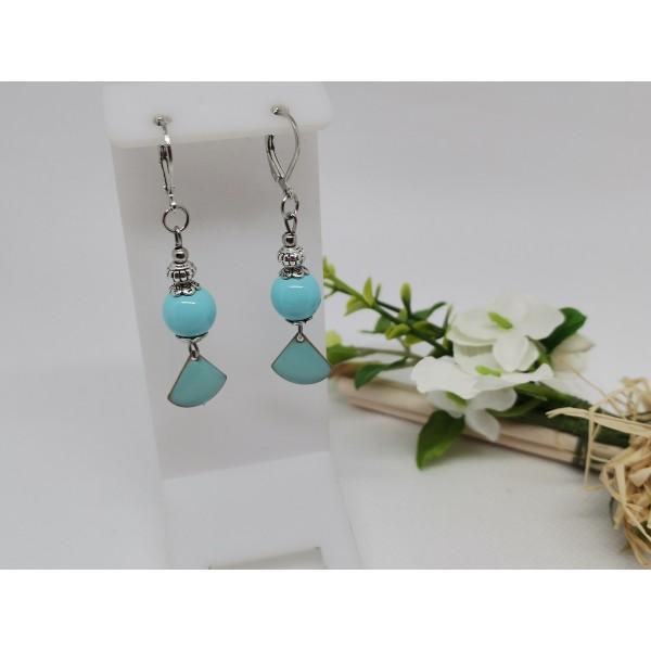 Kit boucles d'oreilles sequin émail et perles en verre bleu ciel - Photo n°1