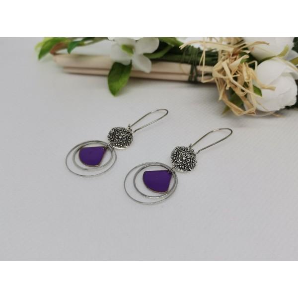 Kit boucles d'oreilles anneaux argent mat et sequin émail violet - Photo n°2