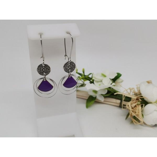 Kit boucles d'oreilles anneaux argent mat et sequin émail violet - Photo n°1
