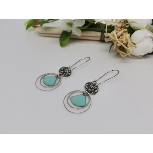 Kit boucles d'oreilles anneaux argent mat et sequin émail bleu clair - Photo n°2