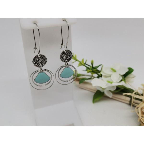 Kit boucles d'oreilles anneaux argent mat et sequin émail bleu clair - Photo n°1