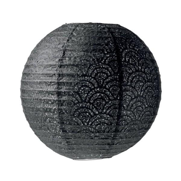 lanterne japonaise lampion boule noir en papier perfor. Black Bedroom Furniture Sets. Home Design Ideas