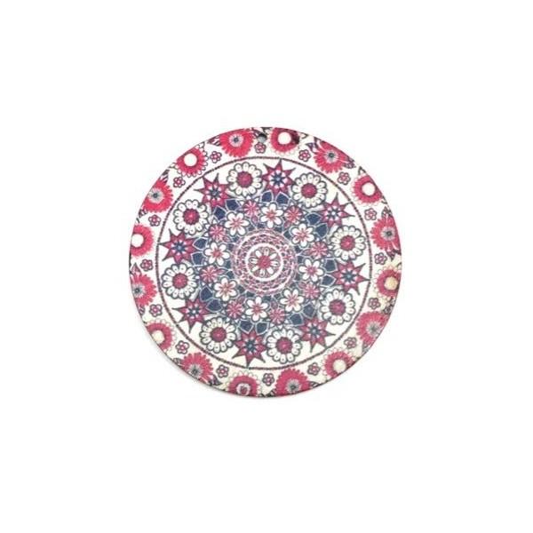 2 Pendentifs Rosace Mandala En Bois Rose, Blanc Et Bleu 60mm - Photo n°3