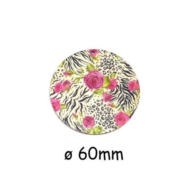 2 Pendentifs Rond En Bois Motif Zébrée Et Fleur Rose 60mm - Photo n°1