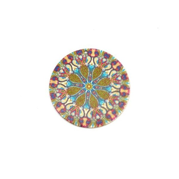 2 Pendentifs Rond En Bois Décoré, Rosace, Mandala Multicolore Vert Kaki, Rose, Écru 60mm - Photo n°3