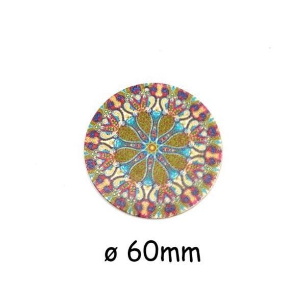 2 Pendentifs Rond En Bois Décoré, Rosace, Mandala Multicolore Vert Kaki, Rose, Écru 60mm - Photo n°1