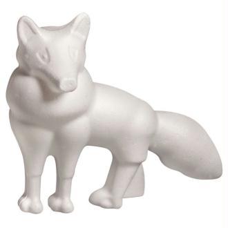 Renard en polystyrène blanc, Hauteur 13cm x Longueur 15cm, à customiser