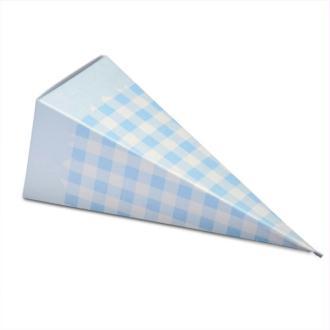 Lot de 10 Cones dragées en carton carreaux vichy blanc et bleu, Cornet hauteur plié 11