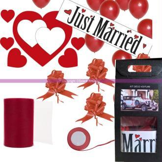 Kit de décoration festive ROUGE 24 Pièces, pr Voiture de Mariés, Coeurs magnétiques, nœuds, rubans