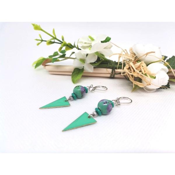 Kit boucles d'oreilles perles vertes et pendentif émail vert - Photo n°2