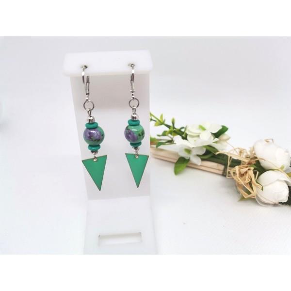 Kit boucles d'oreilles perles vertes et pendentif émail vert - Photo n°1