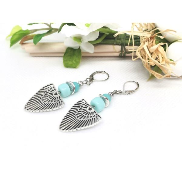 Kit boucles d'oreilles perles en verre et pendentif argent mat - Photo n°2