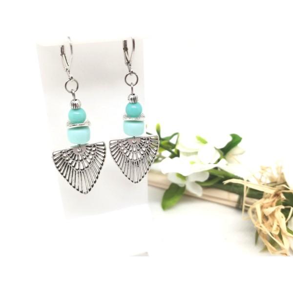 Kit boucles d'oreilles perles en verre et pendentif argent mat - Photo n°1