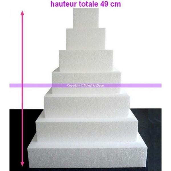 Pièce montée Carré en polystyrène pro, 49 cm, 7 étages, haute den - Photo n°1