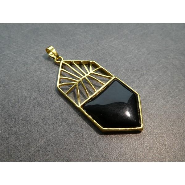 1 Pendentif style Art Deco 59*26mm, agate noire et laiton doré - Photo n°2