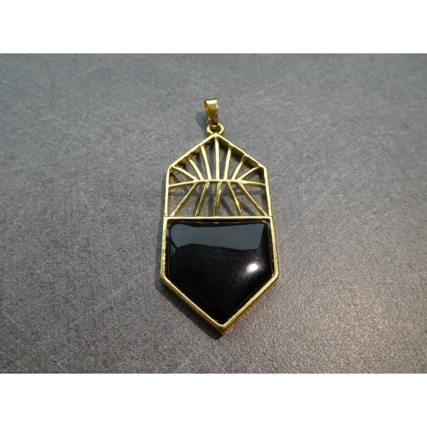 1 Pendentif style Art Deco 59*26mm, agate noire et laiton doré - Photo n°1