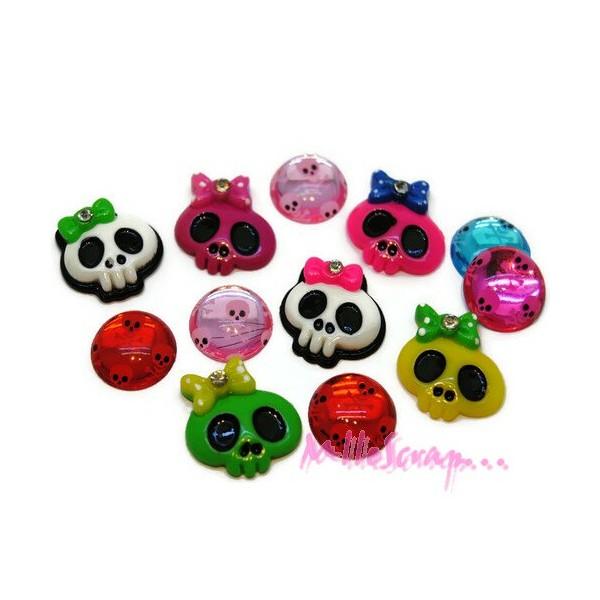 Cabochons têtes de mort multicolore - 12 pièces - Photo n°1