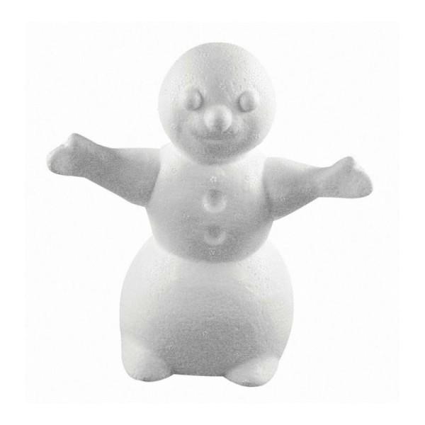 Bonhomme de neige avec bras tendus en polystyrène, Haut. 16,5cm, Largeur 15cm - Photo n°1