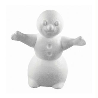 Bonhomme de neige avec bras tendus en polystyrène, Haut. 16,5cm, Largeur 15cm