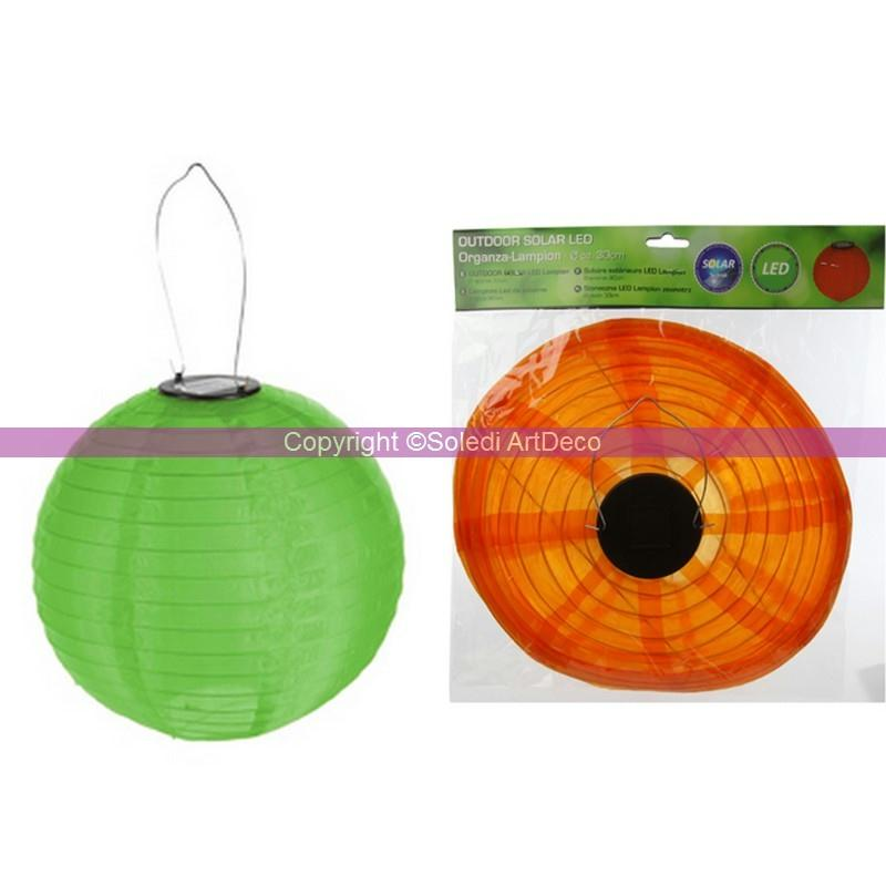 lampion boule led solaire lanterne en organza vert diam