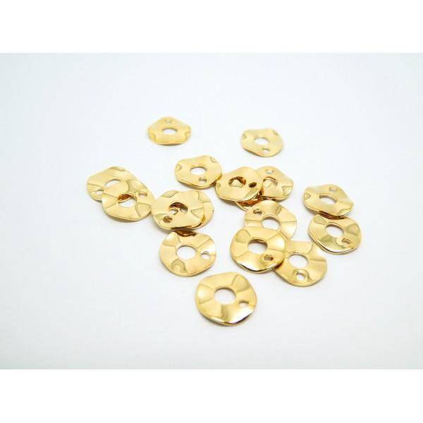 6 Petits sequins ronds ondulés 8mm laiton doré - Photo n°1