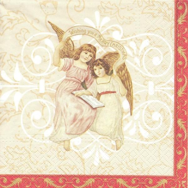4 Serviettes en papier Anges Noël Format Lunch Decoupage Decopatch SDL-007800 Paw - Photo n°1