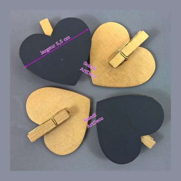 Gros Lot de 20 Ardoises forme Coeurs sur pince en bois Doré, 5x5,5 cm,  Marque-place mariage - Photo n°2