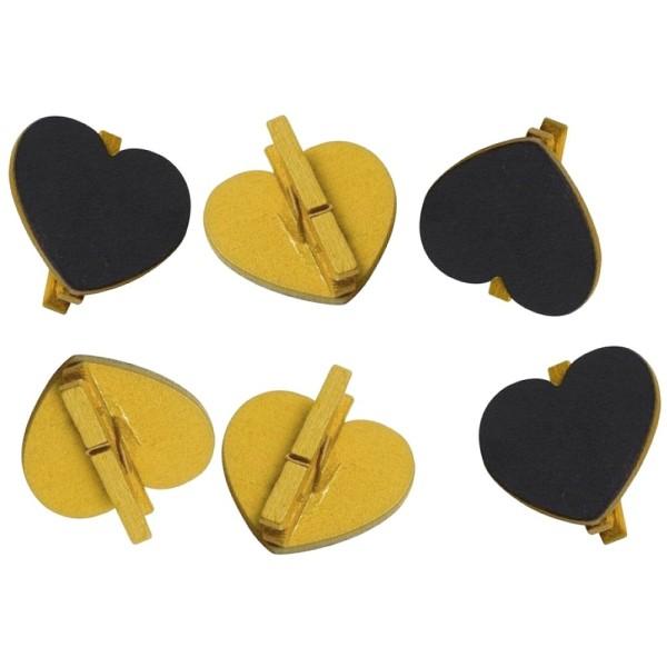 Gros Lot de 20 Ardoises forme Coeurs sur pince en bois Doré, 5x5,5 cm,  Marque-place mariage - Photo n°1
