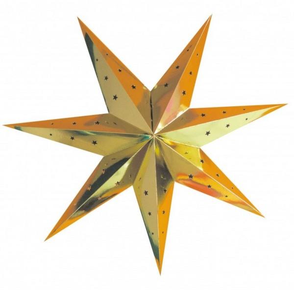 Lot de 2 grandes Lanternes étoiles Doré, dim. 70 cm, suspensions festives Or en carton perforé - Photo n°2