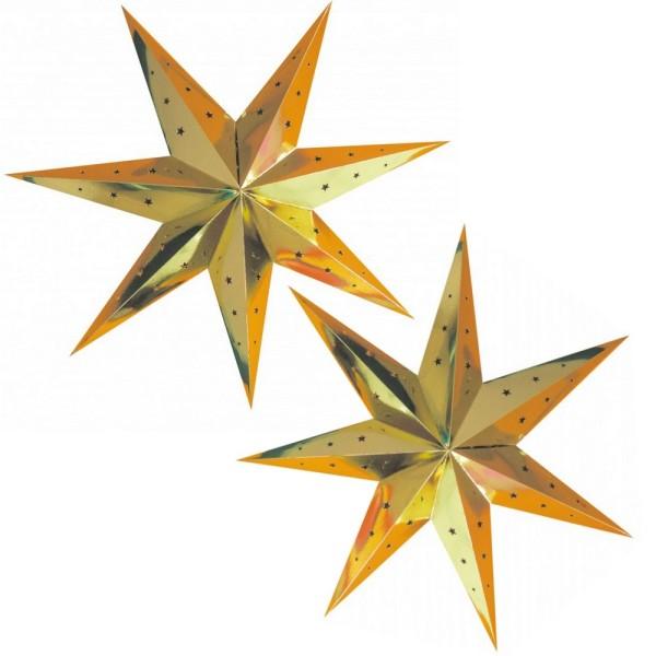 Lot de 2 grandes Lanternes étoiles Doré, dim. 70 cm, suspensions festives Or en carton perforé - Photo n°1