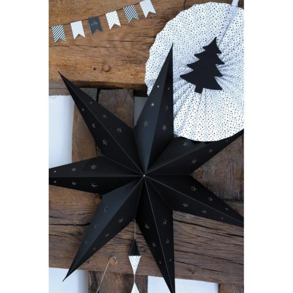 Grande Lanterne étoile Noir, dim. 70 cm, suspension festive en carton perforé - Photo n°2