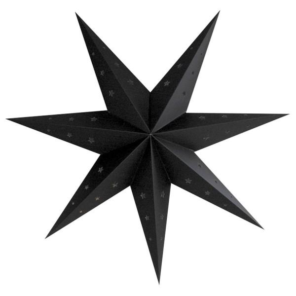 Grande Lanterne étoile Noir, dim. 70 cm, suspension festive en carton perforé - Photo n°1