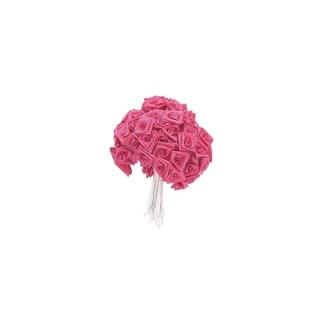 Lot de 12 Bouquets de 12 Roses Dior en satin rose vif, haut. 12 cm
