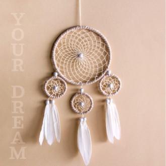 Kit Capteur de rêves, DIY Attrapeur de rêves Couleur Naturel, 4 anneaux, plumes, rubans, perles