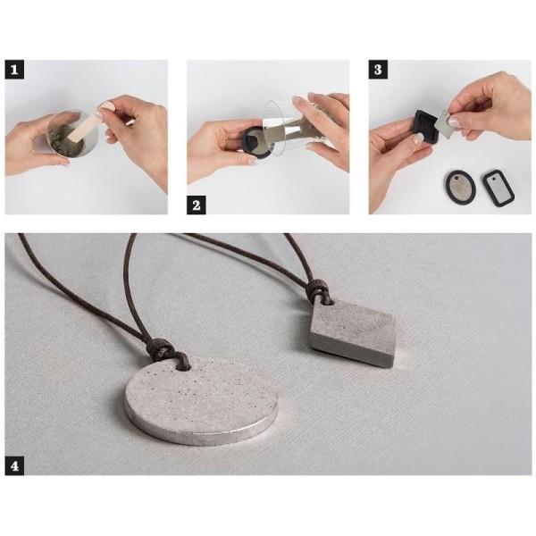 Kit de réalisation de bijoux en béton créatif, 50g de béton, 1 moule, lanière cuir et breloque Aile - Photo n°3