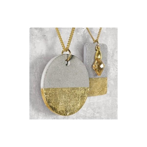 Kit de réalisation de bijoux en béton créatif, 50g de béton, 1 moule, lanière cuir et breloque Aile - Photo n°4