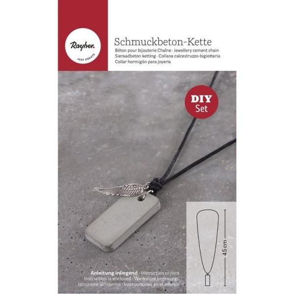 Kit de réalisation de bijoux en béton créatif, 50g de béton, 1 moule, lanière cuir et breloque Aile - Photo n°1