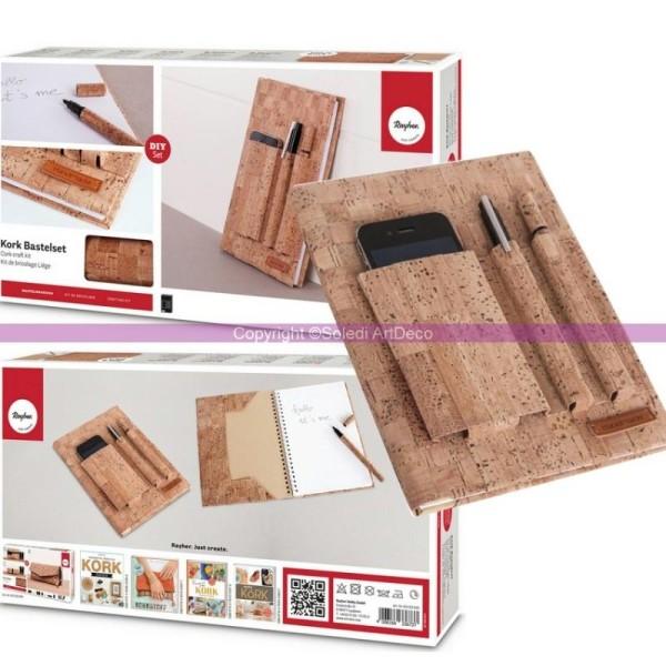 Kit de bricolage Carnet A5 recouvert de Liège, Set DIY avec Stylo et Label Handmade en simili cuir - Photo n°1