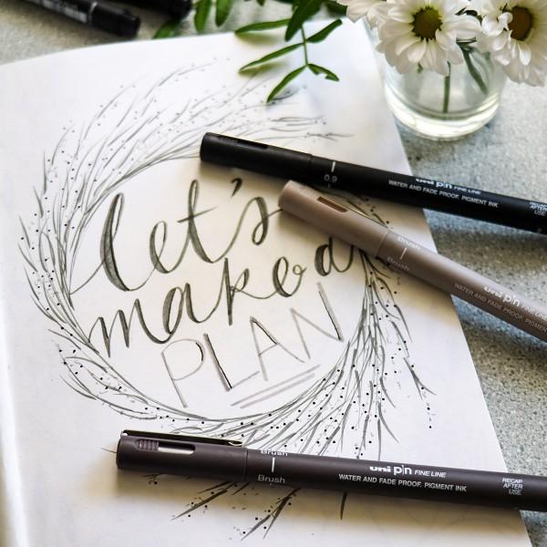 Pochette feutres techniques - Hand Lettering - Coloris assortis - 5 pcs - Photo n°4