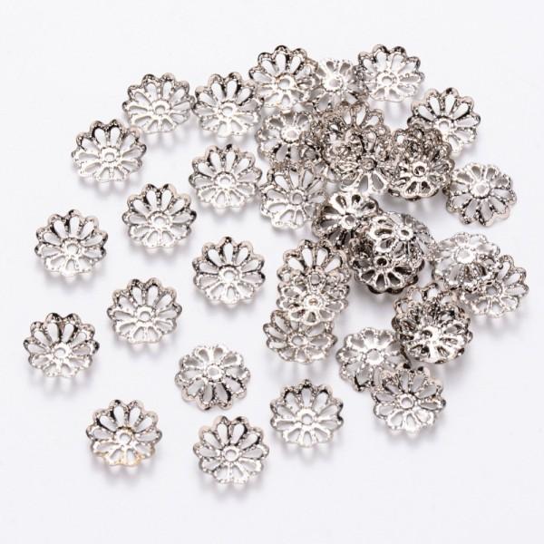 Coupelles fleur filigrane 9 mm argent mat x 30 - Photo n°1