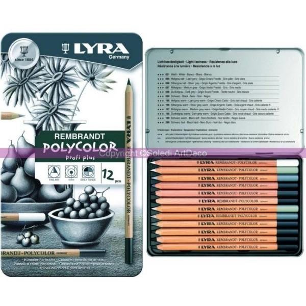 Aquarelles Rembrandt pour Artistes Lyra Germany Lot de 12 Crayons de Couleurs Assorties Boite en M/étal