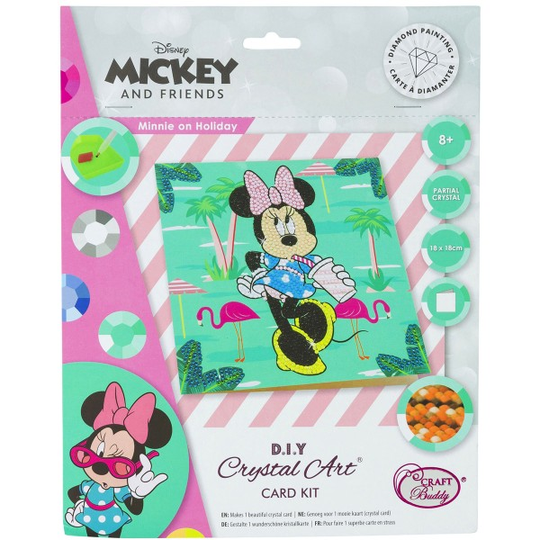 Kit Crystal Art Disney - Carte Minnie - 18 x 18 cm - Photo n°1
