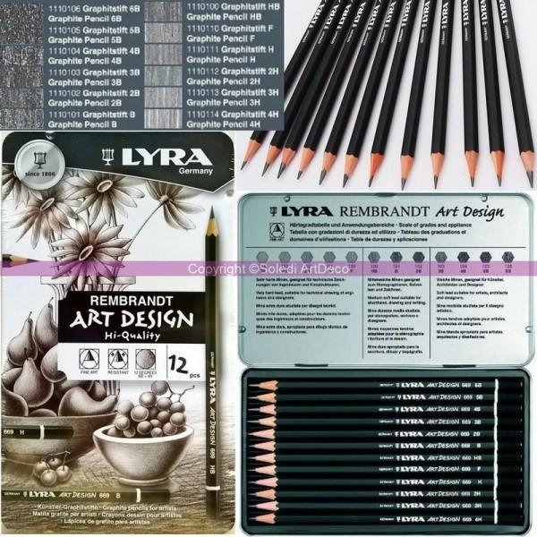 Lot de 12 Crayons à dessin Graphites Rembrandt pour Artistes, dans une boite en métal - Photo n°1