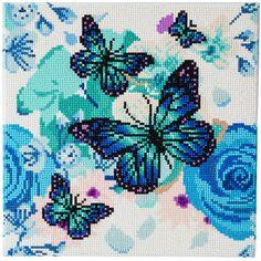 Kit Crystal Art - Tableau Papillons - 30 x 30 cm