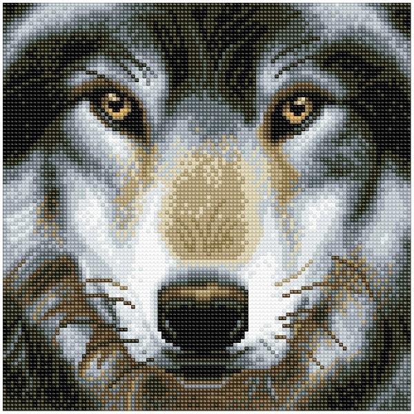 Kit Crystal Art - Tableau Loup - 30 x 30 cm - Photo n°1